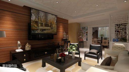 客厅木质电视背景墙效果图图片