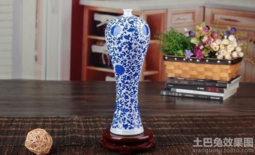 青花瓷花瓶图片_雪狼青花瓷花瓶摆件缠枝莲万寿藤天球瓶花瓶