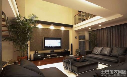 别墅挑高客厅电视背景墙效果图
